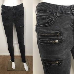 Zadig Voltaire Grey Moto Zipper Skinny Jeans 26